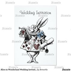 Alice in Wonderland Wedding Invitation Card. The rabbit herald at the Court of the Queen of Hearts looks so dashing in his blue ribbon bow and read heart tabard as he blows on his little trumpet to make your very important announcement. Alice Rabbit, Alice In Wonderland Rabbit, Alice In Wonderland Wedding, John Tenniel, Illustrated Wedding Invitations, Wedding Invitation Design, Rabbit Wedding, Low Budget Wedding, Engagement Gifts For Couples