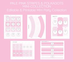 Free Pale Pink Party Printables!  Editable & Printable Mini Party Collection