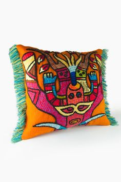 "Hand Embroidered Pillows, Orange, Pillow Cover, 15.7"" square, Colorful Pillows. Hand embroidered by Quechua women, Embroidery Peru"