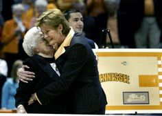 UT coach Summitt hugs her mother Hazel Head after being presented with a naming of the new gym floor in her honor. Pat broke NCAA record of 880 all-time victories. UT played Purdue at the NCAA Women's Regional second round Thompson-Boling Arena in Knoxville, TN on Tuesday, March 22, 2005. (Photo by Shelley Mays/ Tennessean staff)