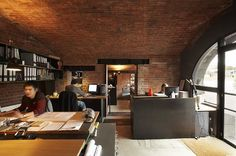 Cool office space-like the exposed brick Brick And Mortar, Brick And Stone, Cool Office Space, Office Spaces, Work Spaces, Small Spaces, Grey Desk, The Design Files, Shop Interior Design