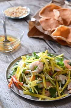 plate of Vietnamese mango salad with shrimp chips
