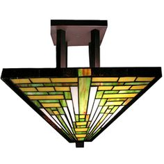 @Overstock - Featuring mission-style design first developed by Frank Lloyd Wright, this handcrafted ceiling lamp offers 402 pieces of cut glass in brown and green to light any room with a vintage style. Crafted using methods first developed by Louis Comfort Tiffany.http://www.overstock.com/Home-Garden/Tiffany-style-Frank-Lloyd-Wright-Mission-Ceiling-Lamp/3274669/product.html?CID=214117 $93.99