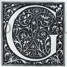 INSTANT DOWNLOAD French Letter G Illuminated Lettering Ornate Very Hi Res 600 dpi jpeg Image