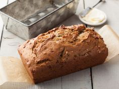 This is my favorite banana nut bread!  It is very decadent and even more so if you add 1/2 cup of mini chocolate chips.  Delish!