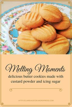 My recipe for melting moments. These are butter biscuits / cookies made from custard powder and icing sugar. After a satisfying initial crunch they melt away in all their deliciousness. Sugar Biscuits Recipe, Custard Biscuits, Eggless Biscuits, Custard Cookies, Biscuit Cookies, Biscuit Recipe, Recipes For Biscuits, Bird's Custard, Baking Biscuits
