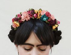 Boho Frida Kahlo Flower Crown - Fiesta, Floral Crown, Flower Headband, Frida Flowers, Spring, Gift idea, Spanish, Floral, Mexican, Fiesta