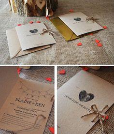 Herz Fingerdruck Klappkarte Einladungskarte Hochzeit mit Jute-Band