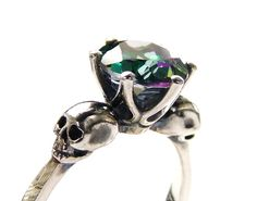 Sterling Goth Skull Engagement Ring Mystic by KipkalinkaJewels