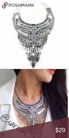 New Gorg Multi Chain Crystal Statement Necklace New Gorgeous Crystal Chain Link  Necklace ~ Complement your glamorous style with this sparkling multi-chain statement necklace. dina aziza Jewelry Necklaces