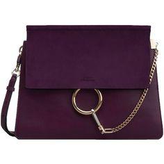 Chloé Purple Faye Shoulder Bag ($1,950) ❤ liked on Polyvore featuring bags, handbags, shoulder bags, purple, purple leather shoulder bag, purple purse, purple handbags, chain purse and genuine leather handbags
