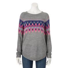 Juniors' SO® Shirttail Intarsia Sweater,