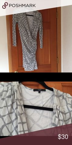 Tart Gray Printed Faux Wrap Dress This stylish Tart gray printed faux wrap dress is absolutely adorable, and perfect for summer. Only worn twice. Tart Dresses