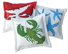 Outdoor hand painted pillows