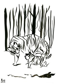 Tigers In The Forest Original Ink Painting Animal Feline Illustration Original Tiger Art Mother Tiger Baby Tiger Watercolor Paintings Nature, Watercolor Artists, Ink Painting, Watercolor Paper, Snowy Woods, Snowy Forest, Animal Paintings, Paintings For Sale, Tiger Artwork
