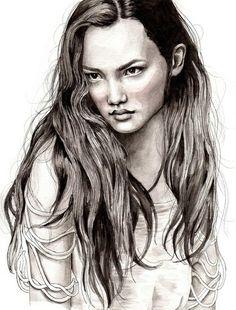 long hair ilustration