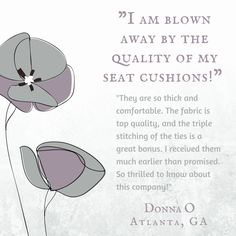 """""""I am blown away by the quality of my seat cushions! They are so thick and comfortable.  The fabric is top quality, and the triple-stitching of the ties is a great bonus.  I received them much earlier than promised. So thrilled to know about this company!"""" a testimonial by Donna O of Atlanta GA on Classic Check Taupe Dining Chair Pads by Barnett Home Decor #testimonials"""