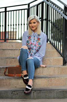 casual weekend outfit inspo: embroidered shirt, high waisted cropped skinny jeans, backless loafers, fall style