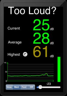 Free app to assist with monitoring of volume. Can be used with groups to increase awareness of loudness of self & peers.