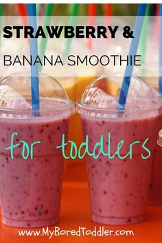 strawberry banana smoothie recipe for toddlers - a healthy smoothie for kids, toddler meals, toddler food, toddler drinks, smoothies, strawberry drinks, healthy smoothie,