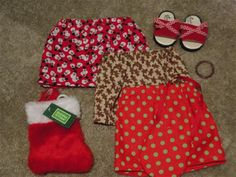 3 Cotton doll Skirt lot with elastic waists, red sandals with a mini check bow, red stocking, mini Czech bead doll bracelet1 available
