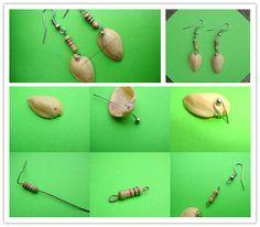 How to make DIY funky resistor pista shell earrings