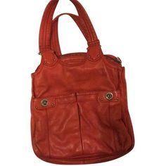 Pre-owned Marc By Marc Jacobs Hobo Bag ($158) ❤ liked on Polyvore featuring bags, handbags, shoulder bags, orange, leather shoulder handbags, leather handbags, leather purse, leather hobo purse and orange leather handbag
