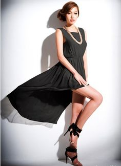 Populär Irregulär Schoß Kleid Schwarz