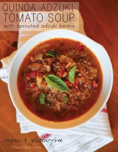 QUINOA, ADZUKI BEAN TOMATO SOUP  with sprouted adzuki beans