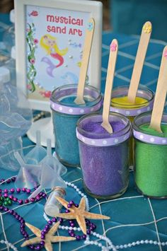 21 mermaid birthday party ideas for kids - under the sea mystical sand art. Mermaid Theme Birthday, Little Mermaid Birthday, Little Mermaid Parties, Birthday Party Games, 6th Birthday Parties, Birthday Ideas, Mermaid Party Games, Birthday Cakes, Turtle Birthday