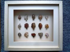 Paleolithic Arrowheads in 3D Frame, Authentic Saharan Artifacts 70,000BC (L002)