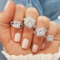 Pretty Pretty Princess Diamonds 💎👑 There's something so regal about this underrated shape! How would you set a princess cut? Styles (Left to Right): 1.	👑 VNR-14632 2.	👑 SOR-12319 3.	👑 SOR-16769 4.	👑 SOR-25203 - #laurenbjewelry #princesscut #princesscutdiamond  #engagementringgoals Cluster, Ring Verlobung, Princess Cut Diamonds, Vintage Engagement Rings, Cut And Style, Altar, Diamond Earrings, Wedding Rings, Shapes