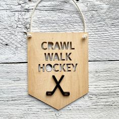 """Etch'd Designs on Instagram: """"For the hockey obsessed like my son! (He apparently needs to wear his Oilers jersey at all times of the day... or else it's a big deal…"""" Like Me, Banners, Hockey, All About Time, Kids Room, Room Decor, Times, Big, Instagram"""