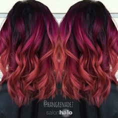 Berry sunset melt hair color. Purple, indigo, magenta, and orange.