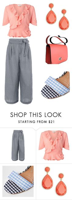 """Peach Frills + Gingham"" by aqualyra ❤ liked on Polyvore featuring Miss Selfridge, River Island, Trina Turk, girly and relaxed"