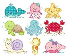 Sweet Sea Critters Applique Machine Embroidery Designs By JuJu Embroidery Store, Border Embroidery, Embroidery Software, Vintage Embroidery, Embroidery Techniques, Hand Embroidery, Embroidery Sampler, Embroidery Jewelry, Embroidery Ideas