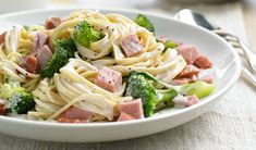 Ham and Spaghetti Alfredo - 6 ingredients, Ready in 20 minutes. Total Cost: $4.66 !!