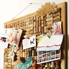 Great idea for an old cork board with a dent and peeling cork (and something to do with all those wine corks I have)!