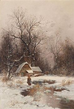 Winter in Lyon, oil on panel by Adolf Kaufmann, 1848-1916, Austrian-born German artist.  Kaufmann was initially self-taught and completed his study in Paris. He was known for his landscapes and marine scenes. Kaufmann's paintings were most often purchased by representatives of the aristocracy for people like Napoleon III, Archduke Friedrich and Tsar Nicholas II.  For a time, Kauffman gave art lessons for women in Vienna along with painter Carl Freiherr von Merode.