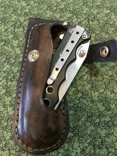 Custom Handmade Leather Sheath with the Pocket Knife