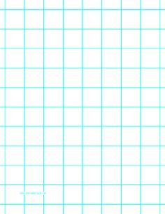 This letter-sized graph paper has one aqua blue line heavy index line every inch. Free to download and print