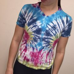 Tie-Dyed Nike V-Neck S Item - Nike Tee Brand - Nike Color(s) -multi! ❤️💛💚💙💜 Size - S Condition - good! Extra Information - hand tie-dyed tee! Feel free to ask any other questions! ☺️ Nike Tops Tees - Short Sleeve