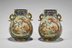 Pair of Chinese cloisonné enamel vases; of hu form, with gilt handles to neck; central panels depicting dragons and p. Feng Shui Paintings, Bats, Asian Art, American Art, Dragons, Enamel, Chinese, Clouds, Pearls