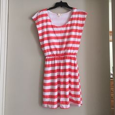 Charlotte Russe Striped Dress Coral and white striped jersey dress. Charlotte Russe Dresses Midi
