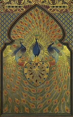 hideback:  The Rubáiyát of Omar Khayyám, circa 1910.  The leather covers included over 1,000 gemstones, including ruby, topaz, and amethyst. The original book was created by Francis Sangorski. The book drowned in the Titanic disaster of 1912. The digital reproduction above, created by Richard Green, was based on surviving black and white photos and glass negatives.Illustrations by Elihu Vedder