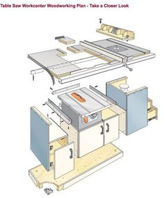 Woodworking Shop Table Saw Workcenter Woodworking Plan converts a contractor's saw into a cabinet saw! Huge worksurface makes crosscutting and ripping workpieces a breeze. This woodworking plan appeared in ShopNotes magazine No.