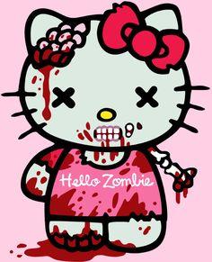 Hello Kitty Zombie Women's Tshirt size Large por Frenetique