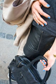 Leather shorts from Gestuz and blue nail polish from Essie