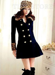 New Arrival Double Breasted Turndown Collar Slim Leopard Coat