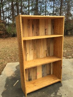 60 x 28 pine bookcase. Features oak, popular and white pine pallet backing. The pine is rough milled and still has the saw markings. Custom Wood Furniture, Reclaimed Wood Furniture, Pine Bookcase, Pallet, New Homes, Shelves, Popular, Summer, House